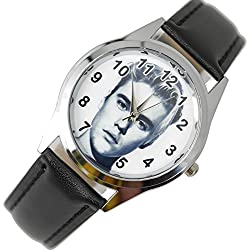 TAPORT® JUSTIN BIEBER Quartz ROUND Watch BLACK Real Leather Band +FREE SPARE BATTERY+FREE GIFT BAG