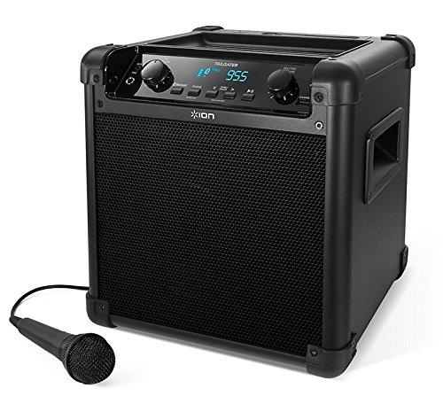Beach-lautsprecher (ION - Audio Tailgater Mobiles 50W Bluetooth Lautsprecher-System mit Mikrofon & Radio I Outdoor-Lautsprecher I Musikbox mit Mikrofon I Soundsystem I integrierte USB-Powerbank I aufladbar I Schwarz)
