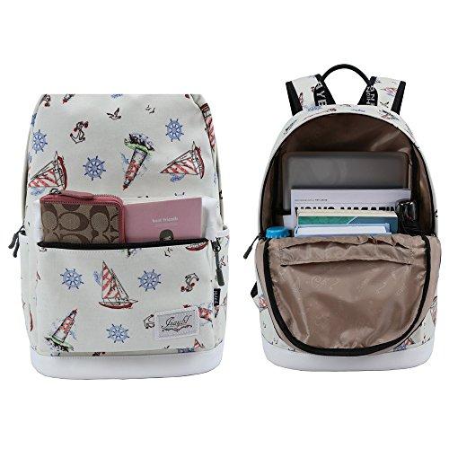 Mocha weir JIAYBL Laptop Taschen Schultern Kinder Schultaschen Rucksack Hochschule Mädchen Canvas Pack reisen (Gelb Kleiner Pfeffer) Beige Segelschiff