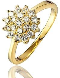 Anillo de compromiso, chapado en oro de 18 quilates, para boda, regalo de