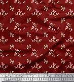 Soimoi Rot Seide Stoff Blätter & Blumen kunstlerisch Stoff