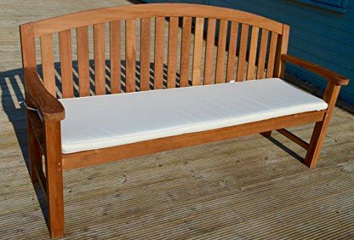 4 posti (1,7 m/170,69 cm) lusso cuscino per panchina da giardino con imbottitura di alta qualità e tessuto - cuscino solo - Natural