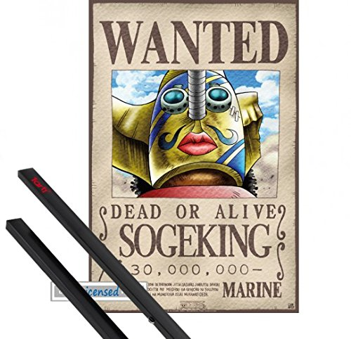 Poster + Hanger: One Piece Mini-Poster (52x35 cm) Wanted Sogeking Inklusive Ein Paar 1art1 Posterleisten, Schwarz
