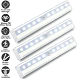 Motion Sensor Lights Indoor,10 LED Wardrobe Light Battery Operated with Sensor WZMIRAI Under Cupboard Light with Magnetic Stripe for Kitchen Counter or Anywhere