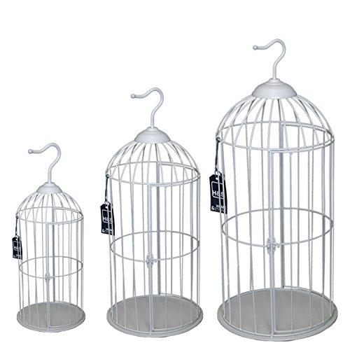 Multistore 2002 Ensemble de Cage à Oiseaux décoratifs Décoration Cage H62/47/35 cm rond style maison de campagne - blanc