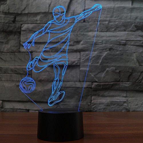 Kreative 3D Fußball Nacht Licht 7 Farben Andern Sich USB Adapter Touch Schalter Dekor Lampe Optische Täuschung Lampe LED Lampe Tisch Kinder Brithday Weihnachten Geschenke
