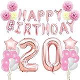 KUNGYO Zum 20. Geburtstag Dekorationen Kit-Rose Gold Happy Birthday Banner-Riesen Zahl 20 und Sterne Helium Folienballons, Bänder, Papier Pom Blumen, Latex Ballons, Elegante Party Supplies für Frauen