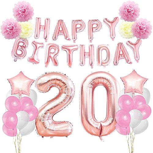 KUNGYO Decoraciones de Feliz Cumpleaños 20 Oro Rosa Happy Birthday Bandera Gigante Número 20 y Estrella de Helio Globos Cintas Flores de Papel Pom Globos de látex