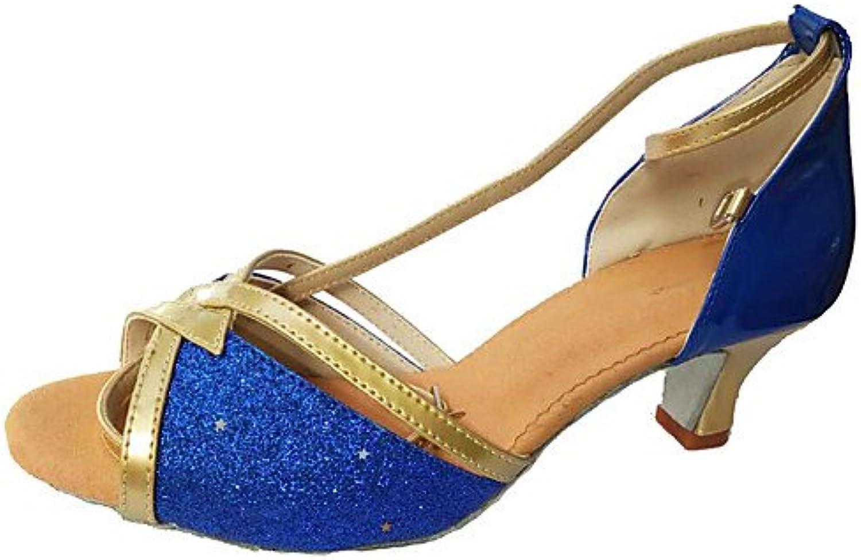 T.T-Q Damen Tanzschuhe Paillette Turnschuhe Heels Customized Heel Golden