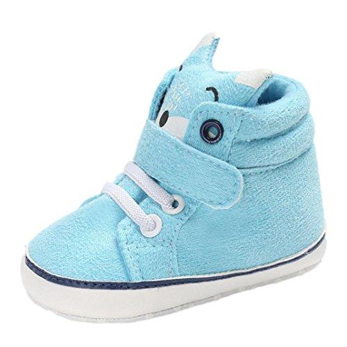 FNKDOR Baby Mädchen Jungen Fuchs Lauflernschuhe Rutschfest Canvas Schuhe Stiefel (6-12 Monate, Blau)