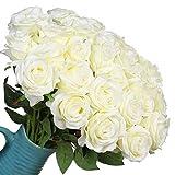 Veryhome 10PCS künstliche Seide Rosen gefälschte Blumen für Hochzeit, Geburtstag, Garten, Home Dekorationen(Weiß)