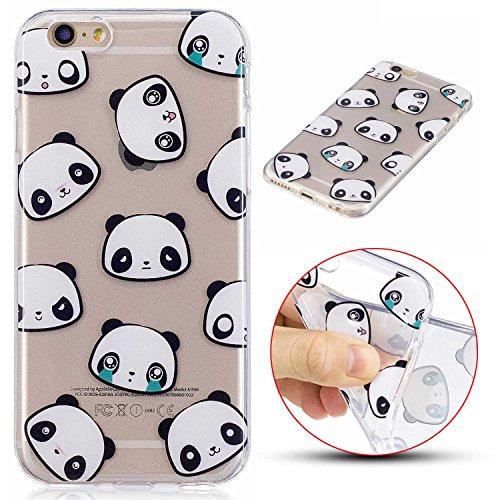 Coque iPhone 6/iPhone 6S, MSK® Coque Housse Etui Silicone Soft Clear TPU Case Cover Souple de Protection Coque Mince Léger Etui Flexible Lisse Couverture Anti Rayure Anti Choc Bumper Pour iPhone 6/iPh Panda