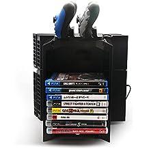 3 en 1 Multifuncional Accesorios Kit Videojuegos Disco Torre de almacenamiento y la consola de pie con doble DualShock 4 Controladores de Estaciones de carga para PS4 / PS4 Slim / PS4 Pro (Playstation 4, Negro)