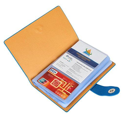 iBayam Brieftasche für Visitenkarten, Leder, Kreditkartenhalter, mit magnetischem Verschluss, für 300Visitenkarten, schwarz blau (Leder-tülle Blaue)