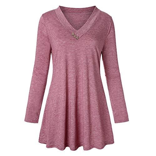 iYmitz DamenLangarm Solid Color Button beiläufige Lose Tops Tunika Bluse Shirt(Rosa,M)