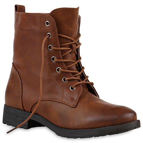 Damen Schnürstiefeletten Profilsohle Boots Camouflage Stiefeletten Leder-Optik Schnür Übergrößen Schuhe 121104 Hellbraun 39 Flandell