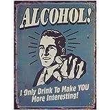 Alcohol Bar Cartel de chapa Antiguo Retro 'Alcohol' Nostalgie Póster Sótano Bar