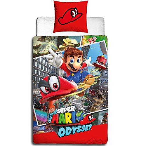 NINTENDO Kinder Bettwäsche · Super Mario ODYSSEY · Wende Motiv - Kissenbezug 80x80 + Bettbezug 135x200 cm - 100% Baumwolle - deutsche Bettwäschen Größe