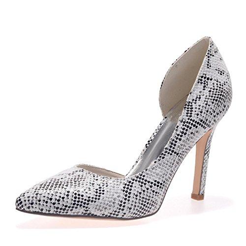 L @ yc E0608-18 Chaussures Pour Femmes À Talons Hauts En Cuirette Et Plateau Blanc