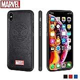 FASTER Coque iPhone X Etui en Cuir Marvel Avengers étui de Téléphone Portable Housses de Protection 3D Premium Résistant aux Rayures (Noir Spider Man)