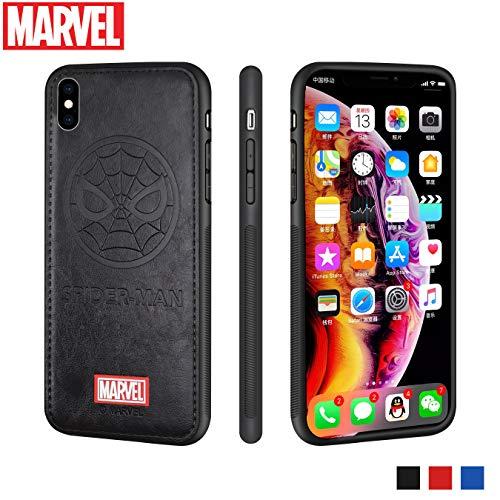 Preisvergleich Produktbild FASTER iPhone X Hülle Marvel Avengers Ledertaschen 3D Prämie Kratzfest Schutzhülle (Schwarz Spider Man)