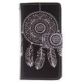Sony Xperia Z3 Compact/Mini Hülle, Conber Lederhülle Handyhülle mit [Frei Schutzfolie], PU Tasche Leder Flip Case Schwarze Serie Schutzhülle für Sony Xperia Z3 Compact/Mini - Coole Windglocke