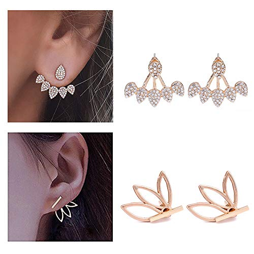 2 Paare Mode Persönlichkeit Hohl Lotus Blume Ohrringe Kristall Einfach Schick Ohrringe Ohrstecker Set Rose Gold Silber Colour (E)