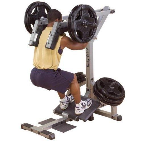 Body-Solid GSCL-360 Beintrainer Kniebeugen Wadenmaschine inkl. 120kg Hantelscheiben und Feststeller (Hantelscheiben Guss (2 Grifflöcher, grau))
