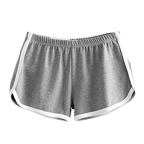 Eleery Shorts Femmes Pantalons Courts de Bain Gym Fitness Yoga Jogging Course Sport Casual Sexy Lâche Elastique Classique Gris clair