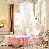 Zanzariera, Infreecs baldacchino per letto | Mosquito Nets | Zanzariera da letto | zanzariera rotonda | Anti-insetti net per casa e per le vacanze, niente più insetti e zanzare mentre dormi--bianco