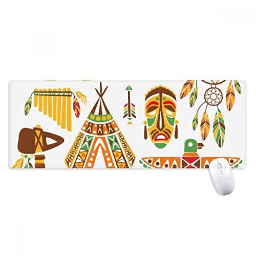 Totem Alfombrilla antideslizante para ratón indio de indio americano, tamaño grande, con bordes cosidos, ideal para regalo