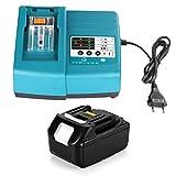 Energup 18V 4,0Ah Ersatz BL1840 Akku + Ladegerät für Makita BL1840 BL1830 BL1850 LXT400 (Ersatz DC18RA DC18RC 1,5A 7,2V~18V Ladegerät)