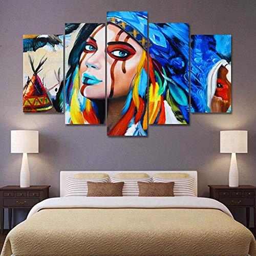 DAOKEHUASJ Leinwand Wandkunst Bild Dekor 5 Stücke Indianer Gefiederte American Native Girl Moderne Wohnzimmer Poster -