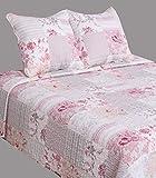Couvre lit boutis pour lit 2 places 140 x 190 cm à 160 x 200 cm (230 x 250 cm pour lit 2 places, Fleurs roses)