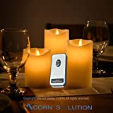 Acorn 3 x Flickering Flame Real Wax LED Candles| Battery Powered Flickering Mood Candles | Remote Control+ Timer | Set of 3 |
