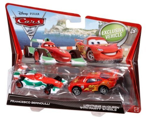 Cars 2 Francesco Bernoulli y Rayo McQueen Diecast vehículo Two-Pack
