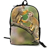 TRFashion Two Common Squirrel Monkeys Unisex Casual Print Backpack Canvas Bag School Student Bookbags Daypack Laptop Sac à Dos Cartable
