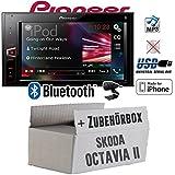 Skoda Octavia 2 1Z - Pioneer MVH-AV290BT - 2DIN USB Bluetooth Touch iPhone Android Autoradio - Einbauset