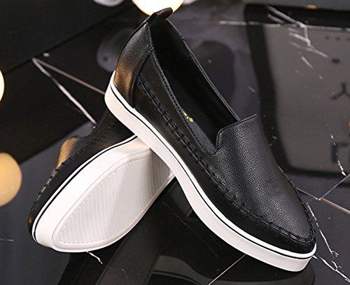 Aisun Femme Classique Coutures Slip On Compensées Baskets Noir