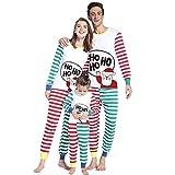 Weihnachten Schlafanzug Familien Outfit Mutter Vater Kind Baby Pajama Langarm Nachtwäsche Brief drucken Gestreift Sleepwear Top Hose Set von Innerternet