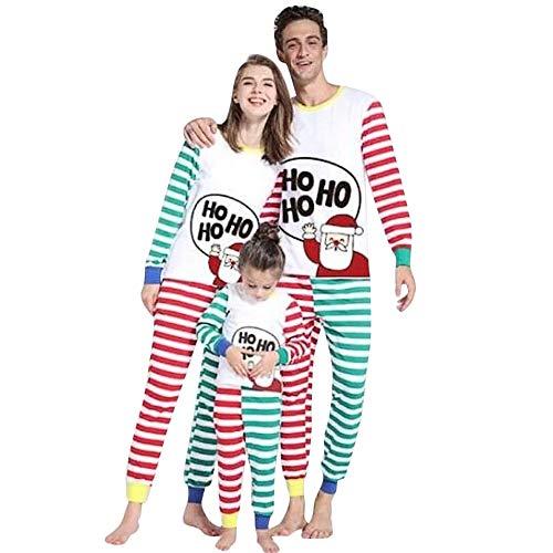Amphia - Weihnachten Kinder Langarm Brief Cartoon Santa Print Top + gestreiften Hosen Zweiteilige Set Eltern-Kind Wear Pyjamas - Papa/Mutter / Junge/Mädchen / Baby Pyjama Anzug