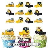 Baufahrzeuge Bagger Kran Bulldozers 12 essbaren Kuchendeckel
