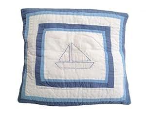 Housse de coussin de canapé en bateau bleu/blanc