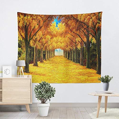 QLIYT Wandteppiche Große Wandteppich Hippie Abstrakte Wald Dekorative Wand Teppich Hängen Orange Ölgemälde Bäume Drucken Wandkunst Decke -