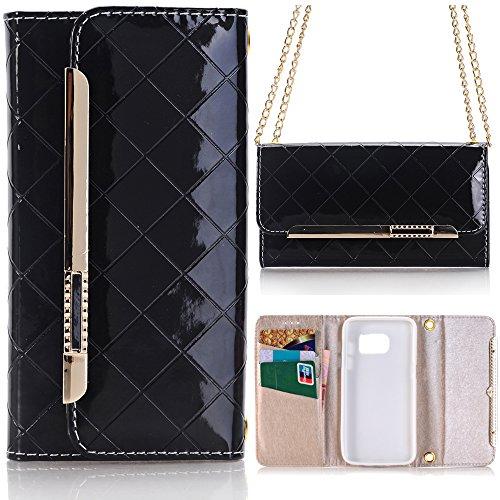 Sunroyal® Samsung Galaxy S6 Cover - Portatile Elegante Borsetta Borsa in pelle Purse Tasca Wallet Card Holders PU Cuoio Case Custodia Con Magnetic Closure and Chain Skin Protezione per Galaxy S6 SM-G920F,