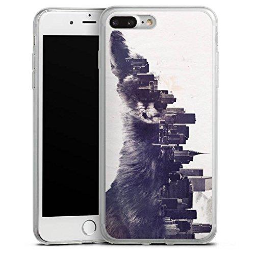 Apple iPhone 8 Plus Slim Case Silikon Hülle Schutzhülle Fuchs Urban City Silikon Slim Case transparent
