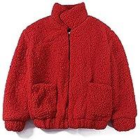 Btruely Jacke Damen Mantel Große Größe Flaumiger Paka Langarm Dickere Oberbekleidung Retro Wrap Zipper Fleece-Pelzjacke Casual Winteroutwear