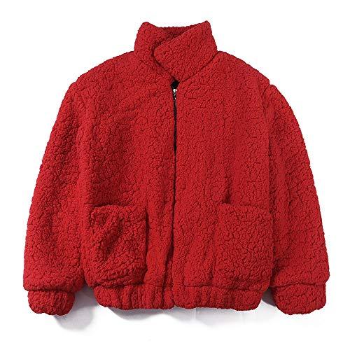 TWBB Damen Mantel Winter Warm Outwear Elegant Warm Faux Fur Kunstfell Jacke Kurz Strickjacke Coat