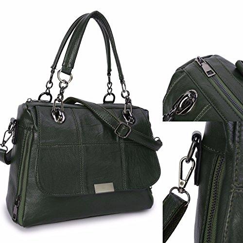 Frauen Leder Handtaschen Damen Designer Henkeltasche Mädchen Schulter Crossbody Messenger Tasche Top-Griff Taschen für Outdoor Indoor - Schwarz Grün
