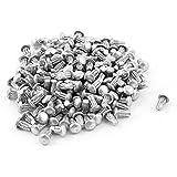 200 piezas de 0,2 cm x 0,4 cm aluminio cabeza redonda estriado vástagos remaches sólido